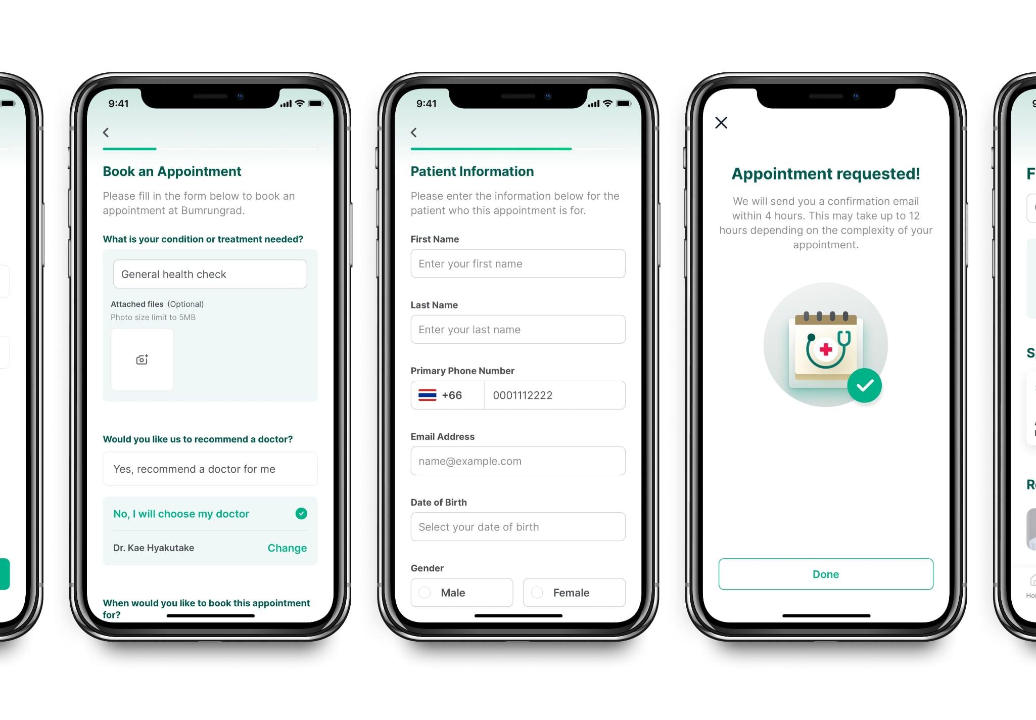 Bumrungrad mobile app UI