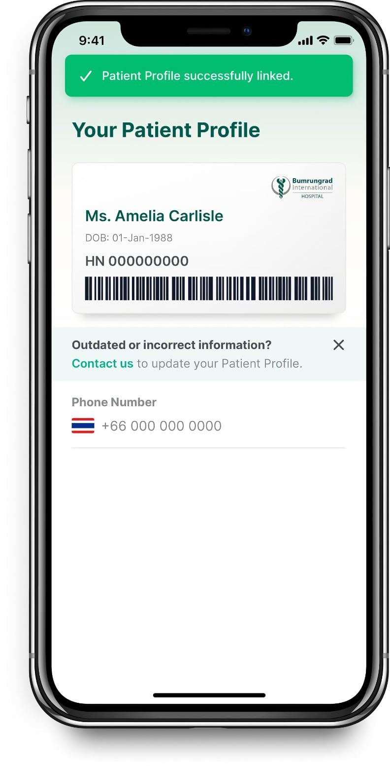 Bumrungrad mobile app patient profile